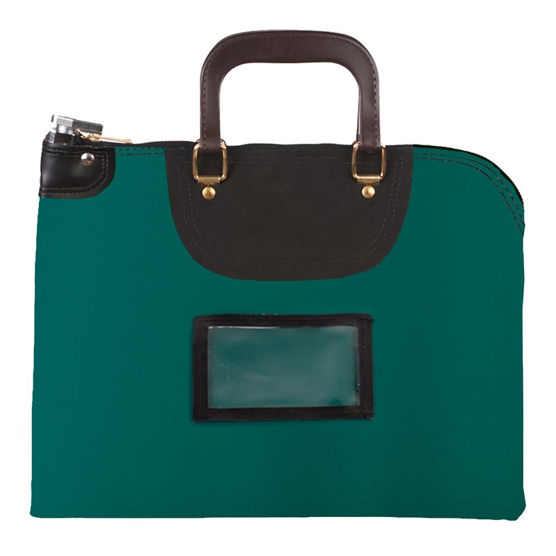 Forest Green Laminated Nylon 18Wx14H Handled Fire-Resistant Locking Courier Bag w/Master Key Lock, Framed Cardholder
