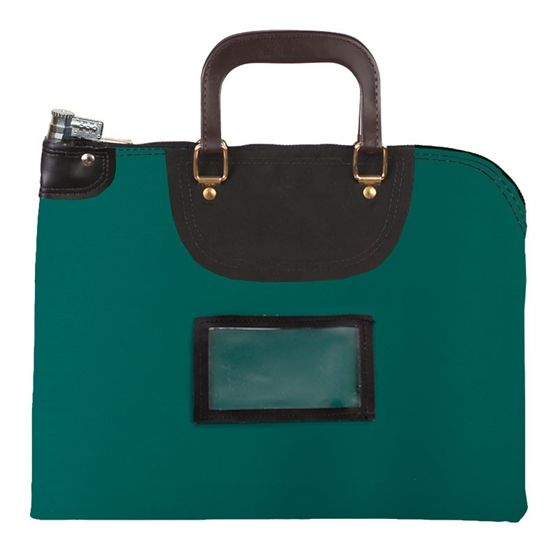 Forest Green Laminated Nylon 19Wx15H Handled Fire-Resistant Locking Courier Bag w/Combo Alike Lock, Framed Cardholder
