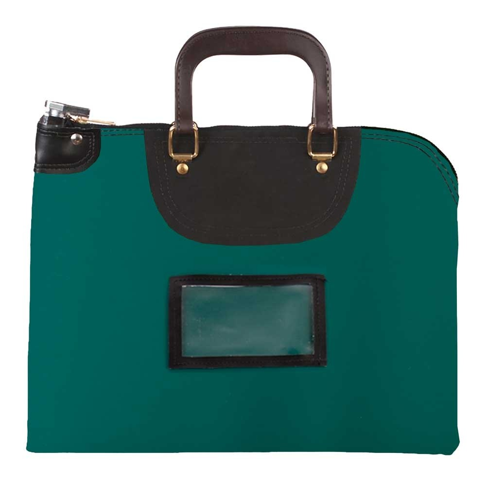 Forest Green Laminated Nylon 15Wx11H Handled Fire-Resistant Locking Courier Bag w/Master Key Lock, Framed Cardholder