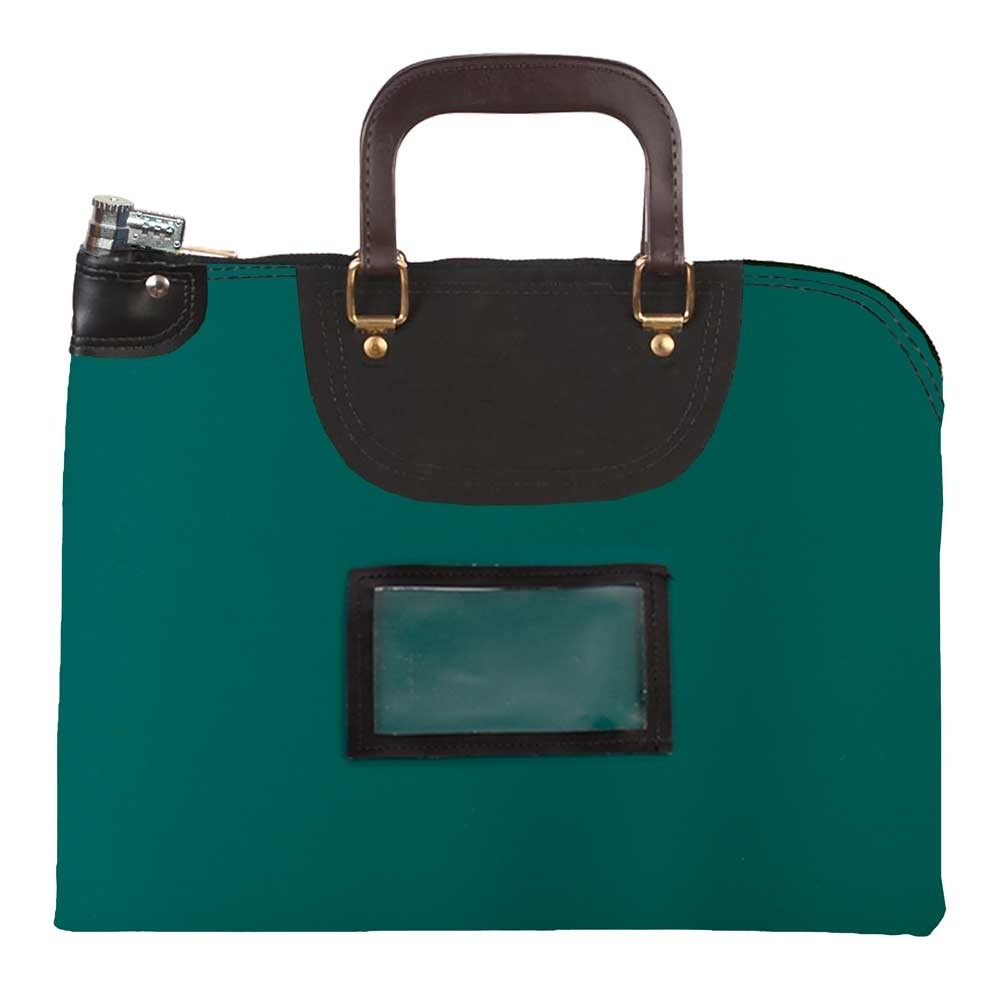 Forest Green Laminated Nylon 18Wx14H Handled Fire-Resistant Locking Courier Bag w/Combo Alike Lock, Framed Cardholder