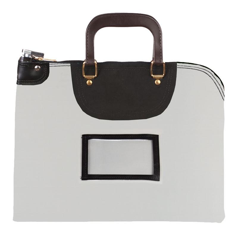 Gray Laminated Nylon 18Wx14H Handled Fire-Resistant Locking Courier Bag w/Master Key Lock, Framed Cardholder