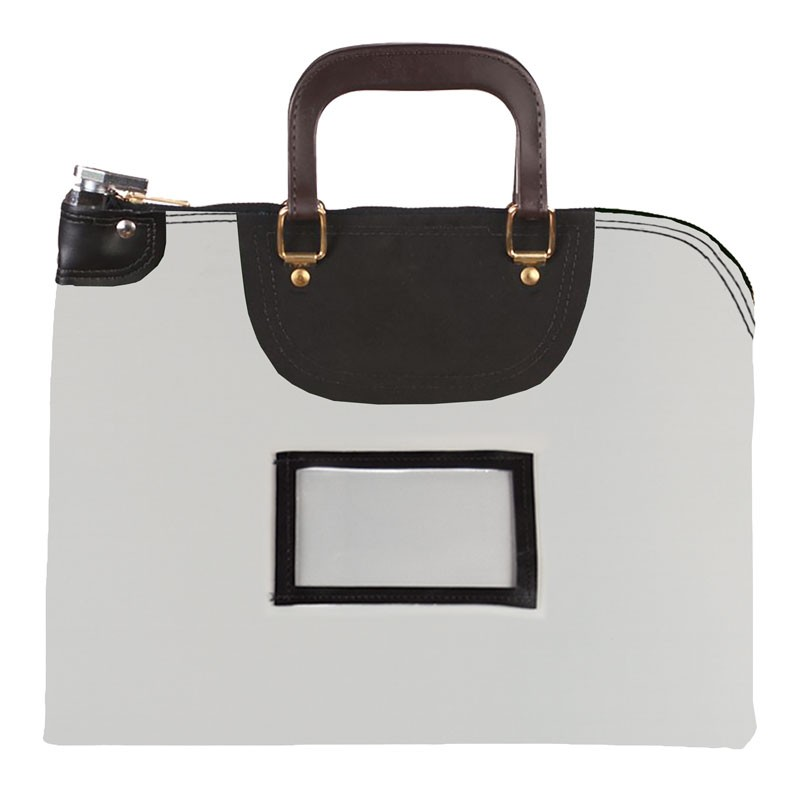 Gray Laminated Nylon 16Wx12H Handled Fire-Resistant Locking Courier Bag w/Keyed Diff Lock, Framed Cardholder