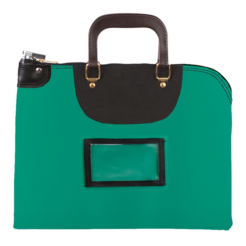 Kelly Green Laminated Nylon 18Wx14H Handled Fire-Resistant Locking Courier Bag w/Master Key Lock, Framed Cardholder
