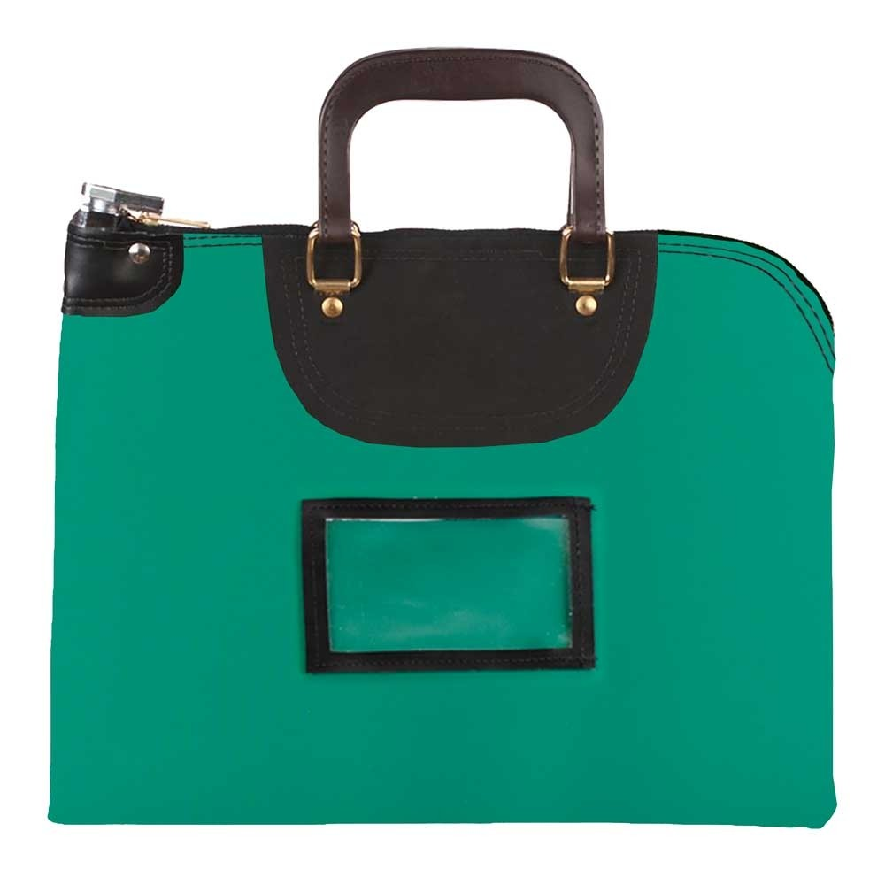 Kelly Green Laminated Nylon 19Wx15H Handled Fire-Resistant Locking Courier Bag w/Master Key Lock, Framed Cardholder