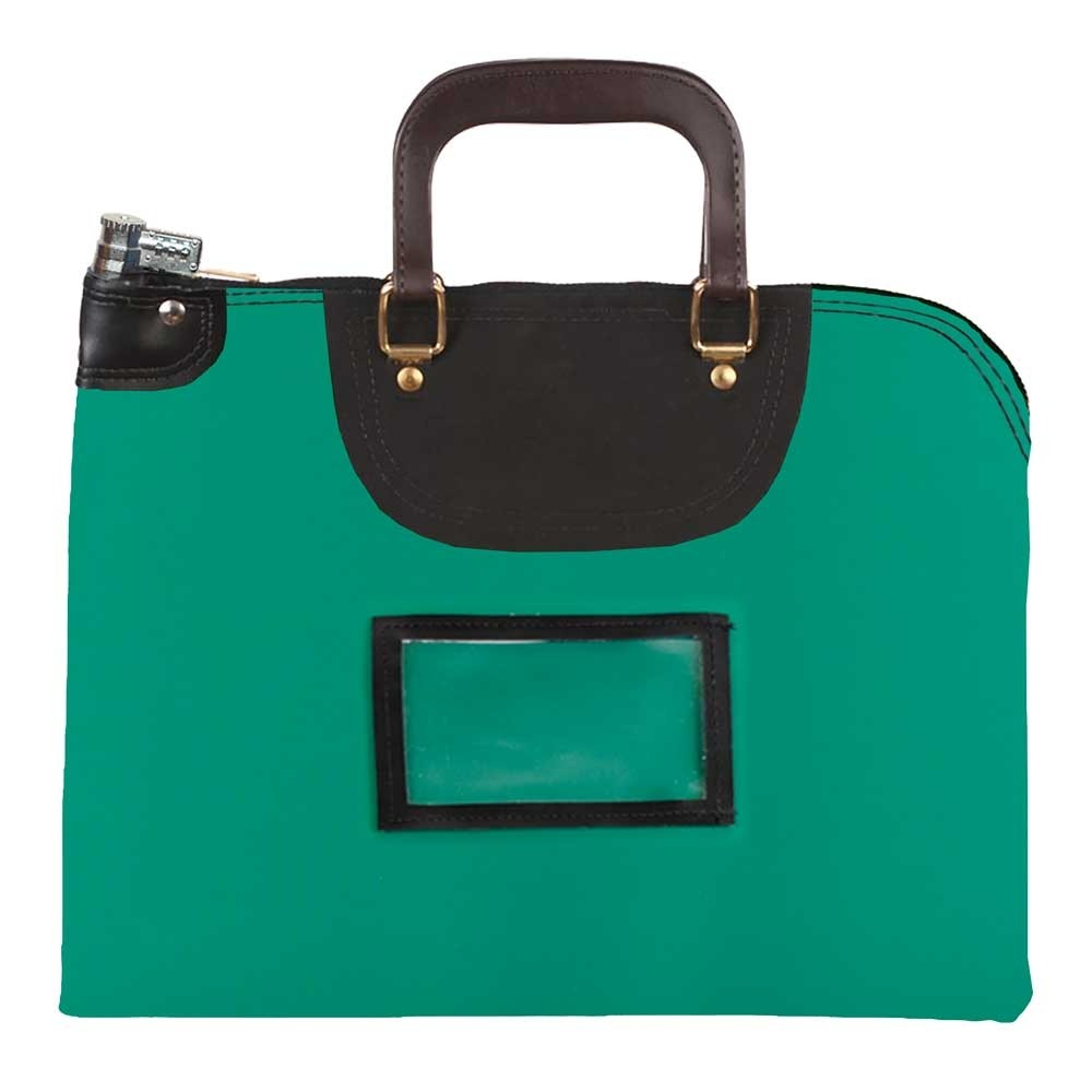 Kelly Green Laminated Nylon 19Wx15H Handled Fire-Resistant Locking Courier Bag w/Combo Diff Lock, Framed Cardholder