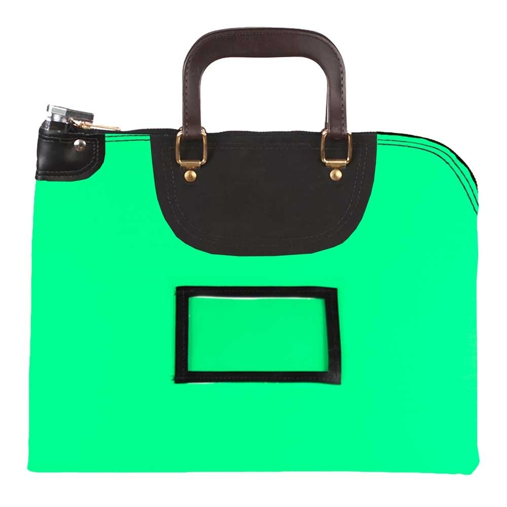 Neon Green Laminated Nylon 15Wx11H Handled Fire-Resistant Locking Courier Bag w/Master Key Lock, Framed Cardholder