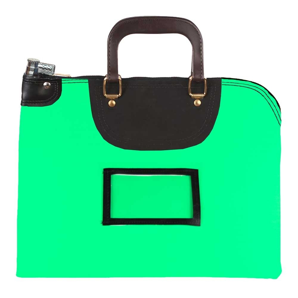 Neon Green Laminated Nylon 18Wx14H Handled Fire-Resistant Locking Courier Bag w/Combo Diff Lock, Framed Cardholder