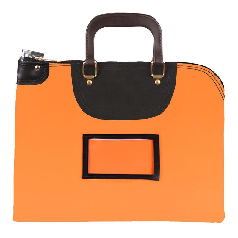 Orange Laminated Nylon 16Wx12H Handled Fire-Resistant Locking Courier Bag w/Key Alike Lock, Framed Cardholder