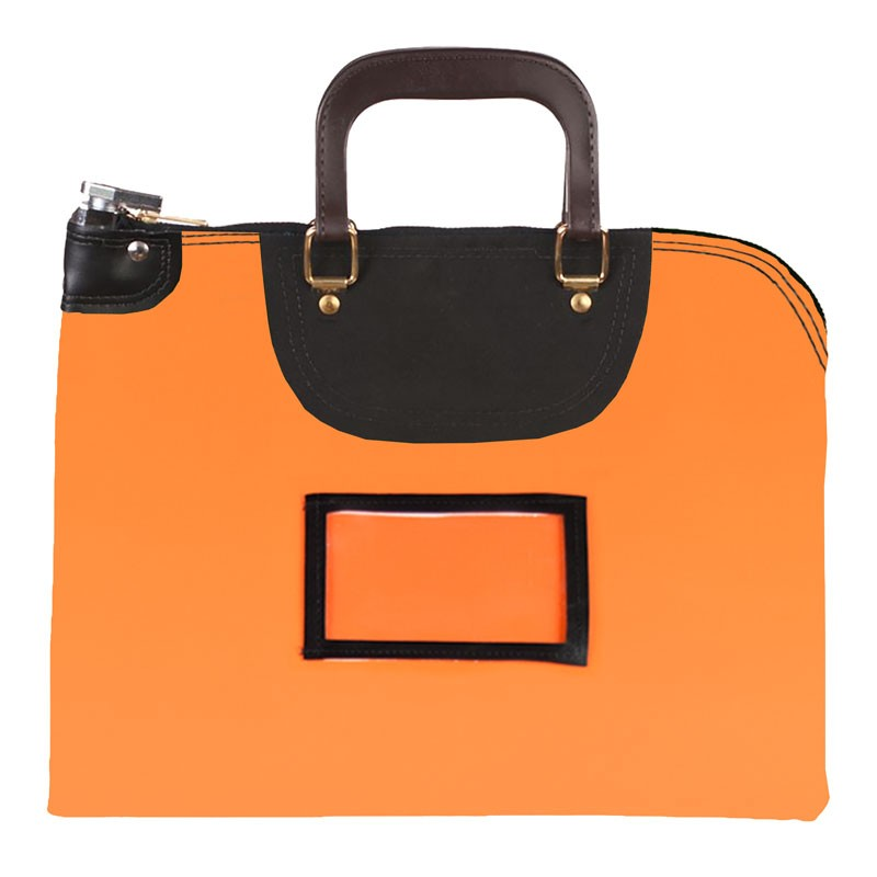 Orange Laminated Nylon 18Wx14H Handled Fire-Resistant Locking Courier Bag w/Keyed Diff Lock, Framed Cardholder