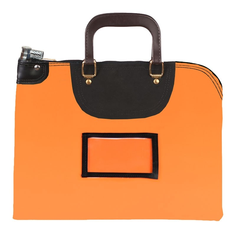 Orange Laminated Nylon 19Wx15H Handled Fire-Resistant Locking Courier Bag w/Combo Diff Lock, Framed Cardholder