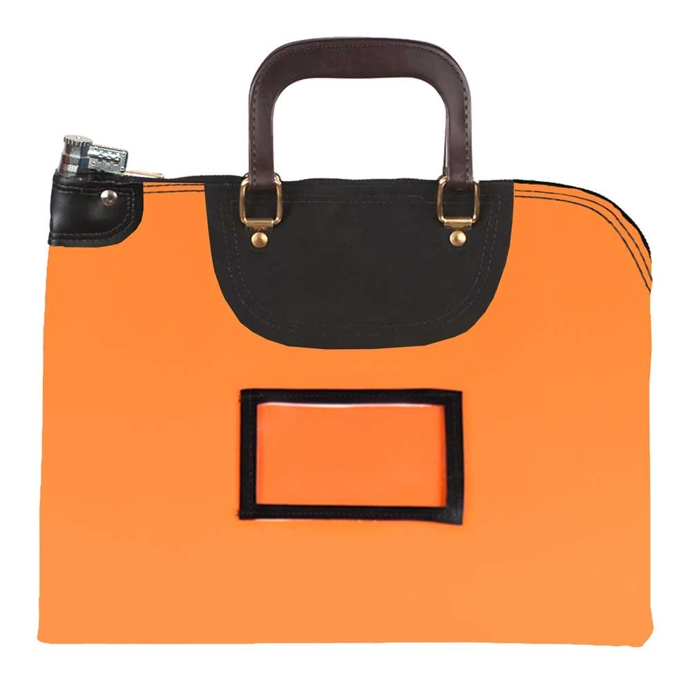 Orange Laminated Nylon 18Wx14H Handled Fire-Resistant Locking Courier Bag w/Combo Diff Lock, Framed Cardholder