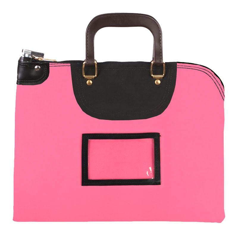 Pink Laminated Nylon 18Wx14H Handled Fire-Resistant Locking Courier Bag w/Master Key Lock, Framed Cardholder
