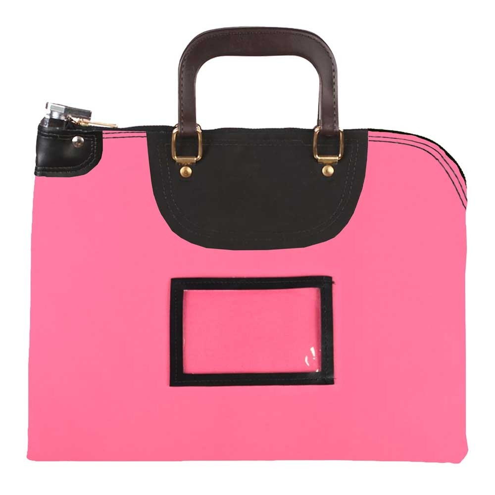 Pink Laminated Nylon 19Wx15H Handled Fire-Resistant Locking Courier Bag w/Keyed Diff Lock, Framed Cardholder