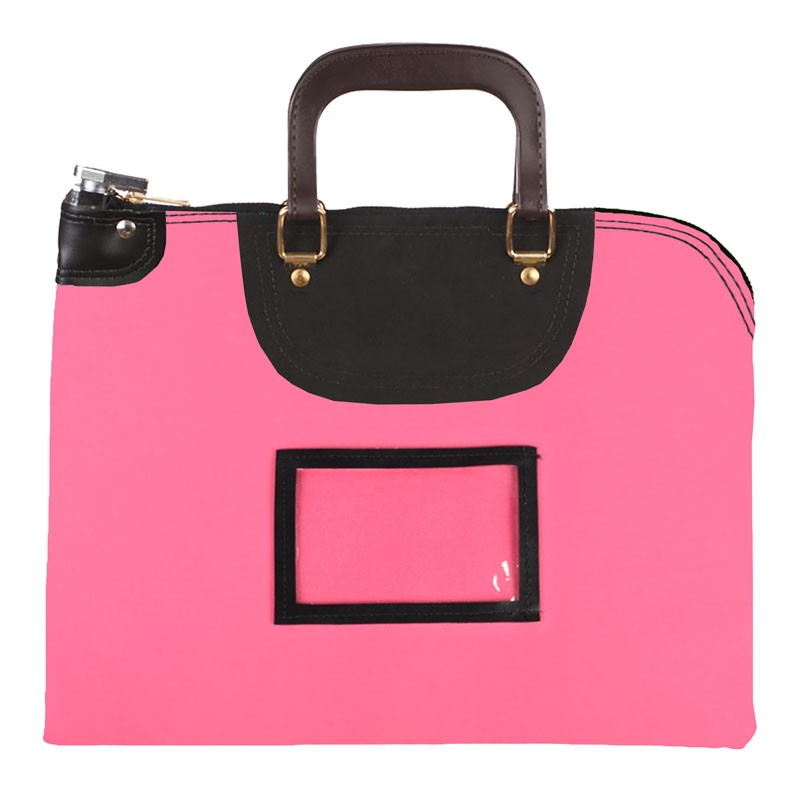 Pink Laminated Nylon 16Wx12H Handled Fire-Resistant Locking Courier Bag w/Keyed Diff Lock, Framed Cardholder