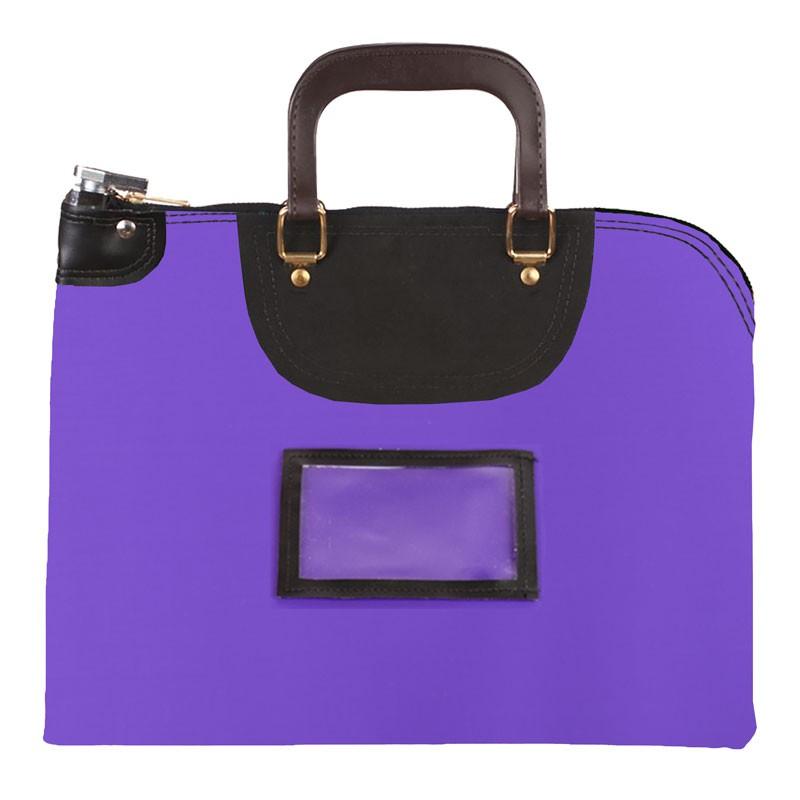 Purple Laminated Nylon 18Wx14H Handled Fire-Resistant Locking Courier Bag w/Key Alike Lock, Framed Cardholder