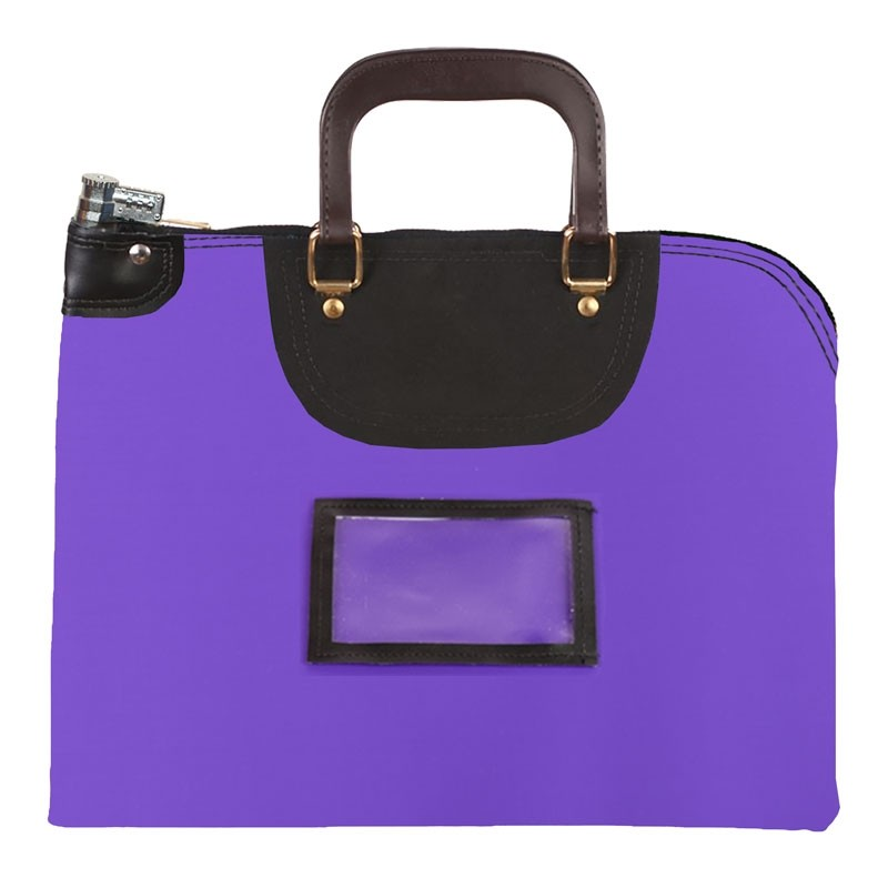 Purple Laminated Nylon 19Wx15H Handled Fire-Resistant Locking Courier Bag w/Combo Diff Lock, Framed Cardholder