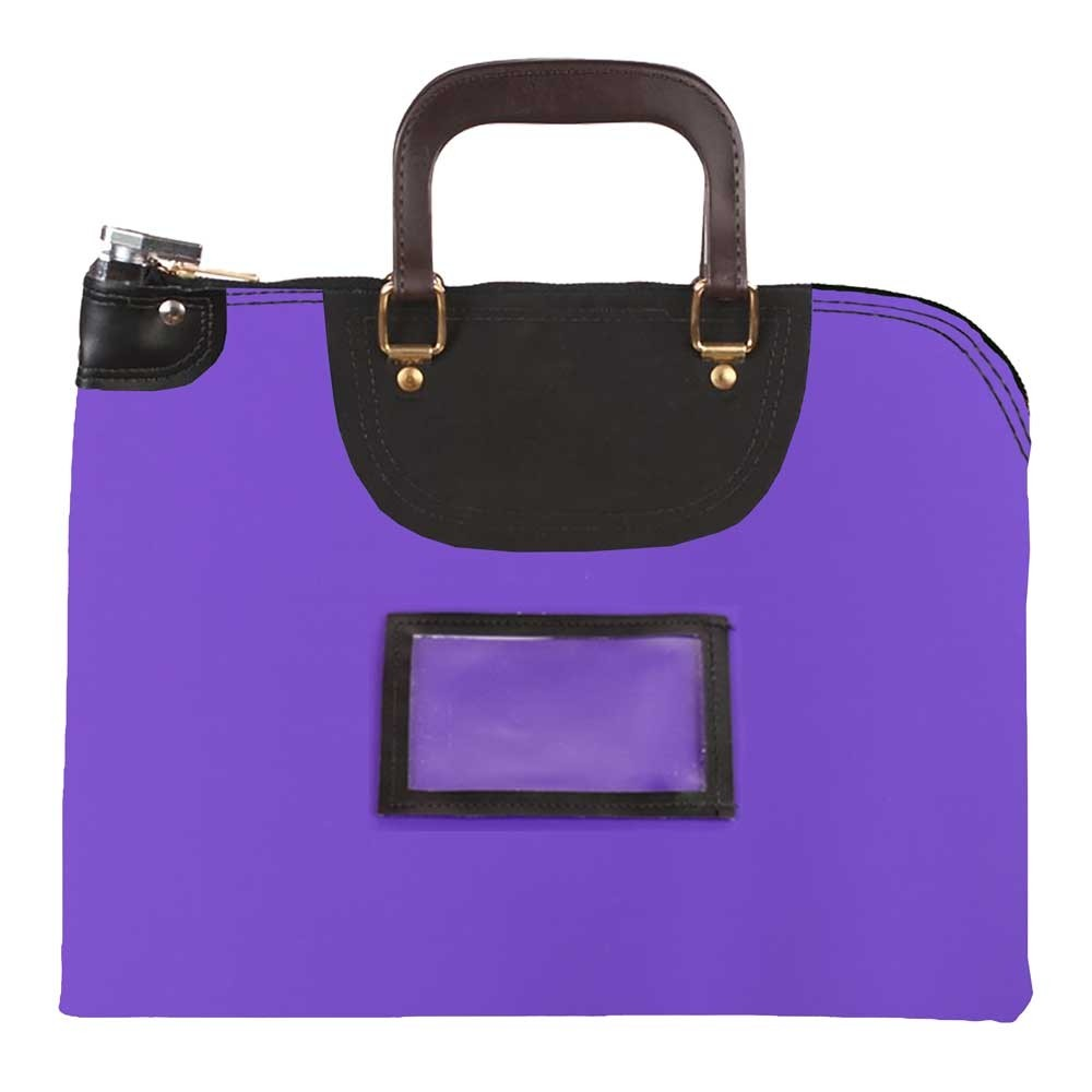 Purple Laminated Nylon 15Wx11H Handled Fire-Resistant Locking Courier Bag w/Master Key Lock, Framed Cardholder