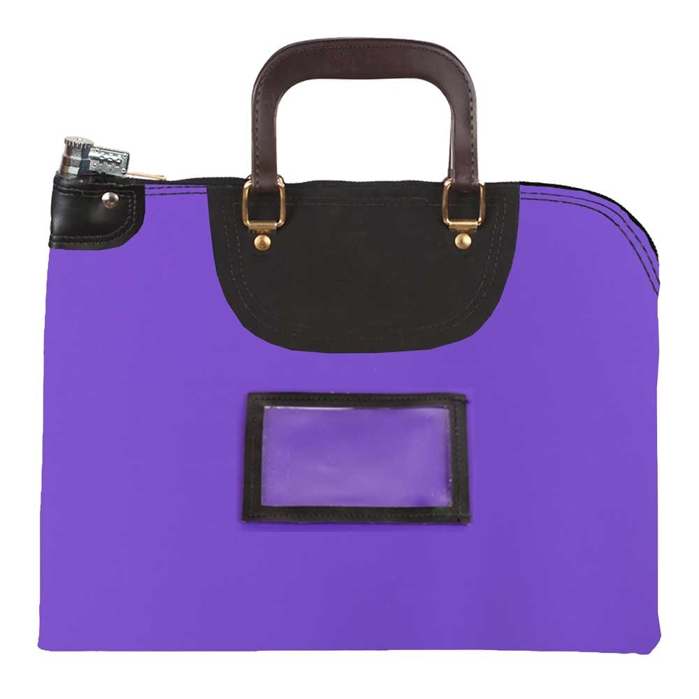 Purple Laminated Nylon 16Wx12H Handled Fire-Resistant Locking Courier Bag w/Combo Diff Lock, Framed Cardholder