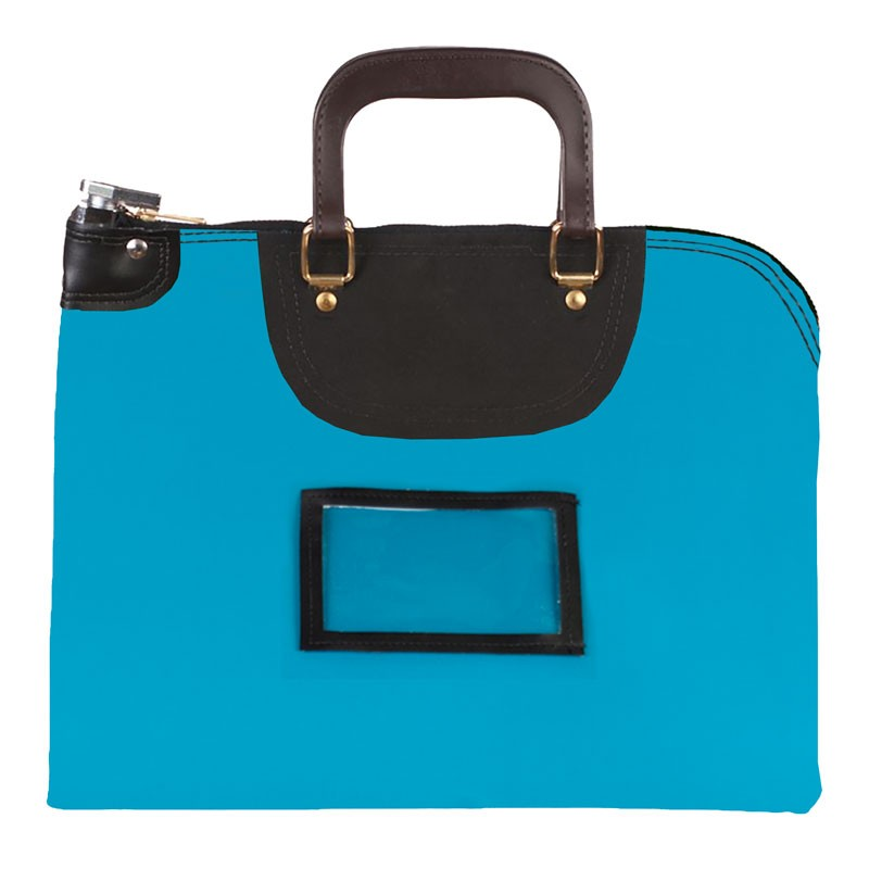 Teal Laminated Nylon 16Wx12H Handled Fire-Resistant Locking Courier Bag w/Master Key Lock, Framed Cardholder