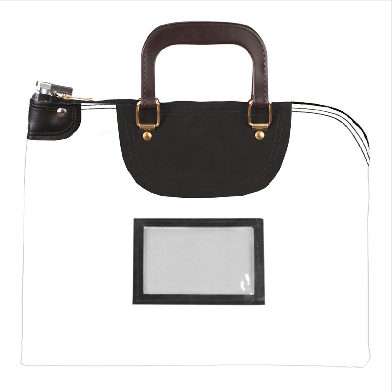 White Laminated Nylon 18Wx14H Handled Fire-Resistant Locking Courier Bag w/Keyed Diff Lock, Framed Cardholder