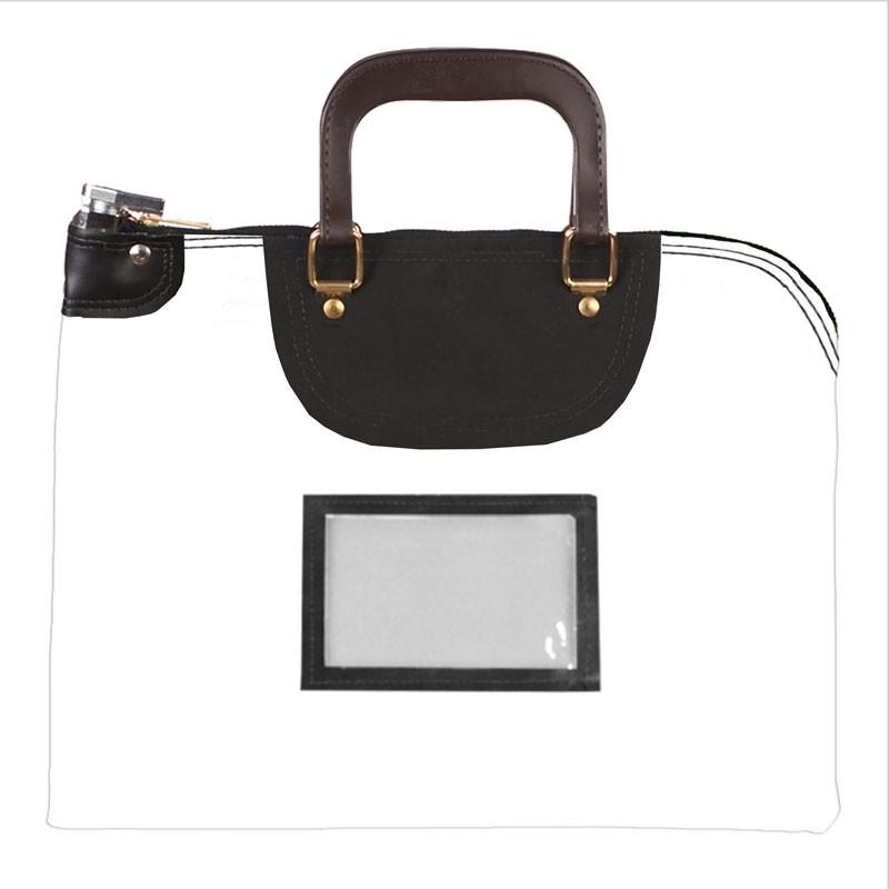 White Laminated Nylon 16Wx12H Handled Fire-Resistant Locking Courier Bag w/Keyed Diff Lock, Framed Cardholder
