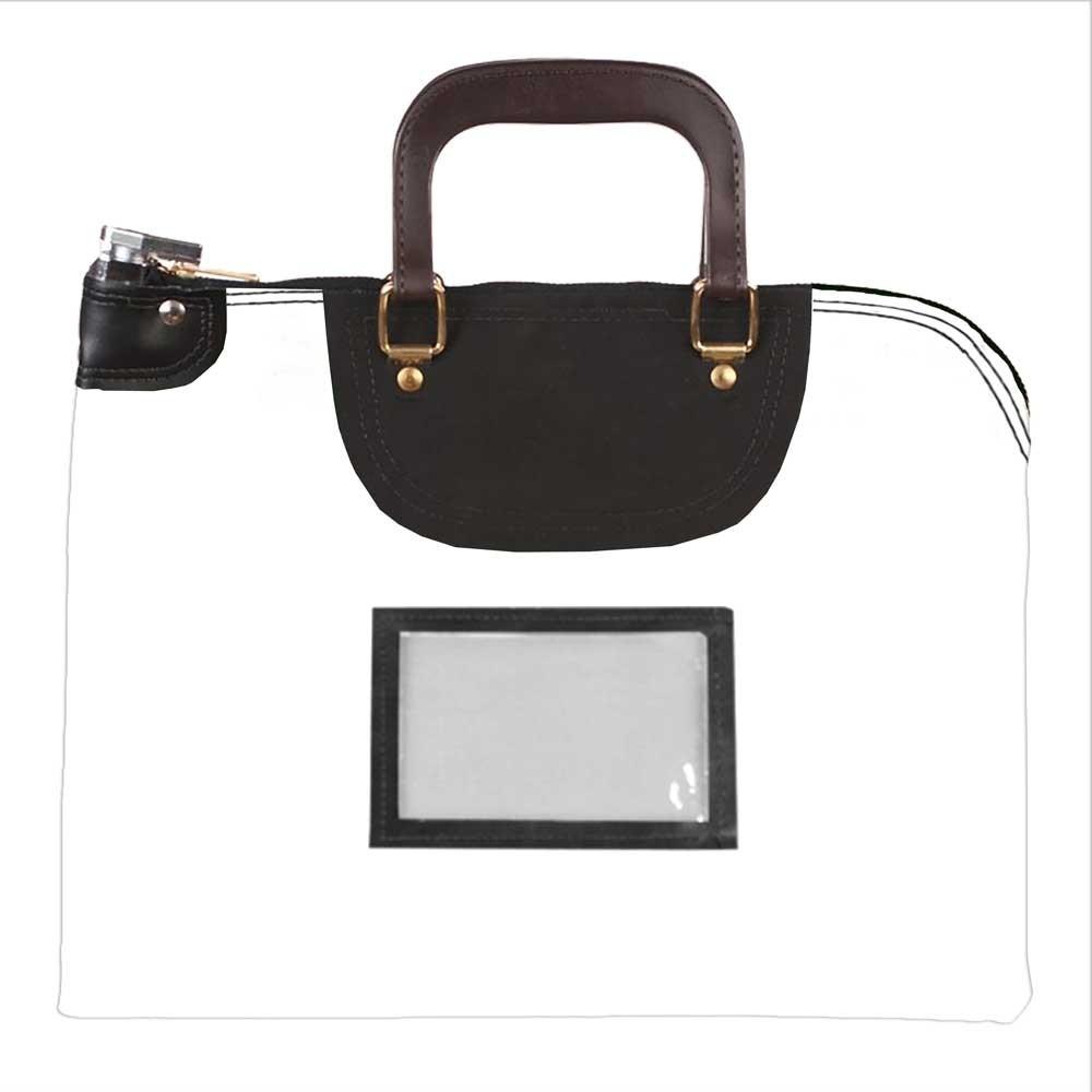 White Laminated Nylon 19Wx15H Handled Fire-Resistant Locking Courier Bag w/Master Key Lock, Framed Cardholder