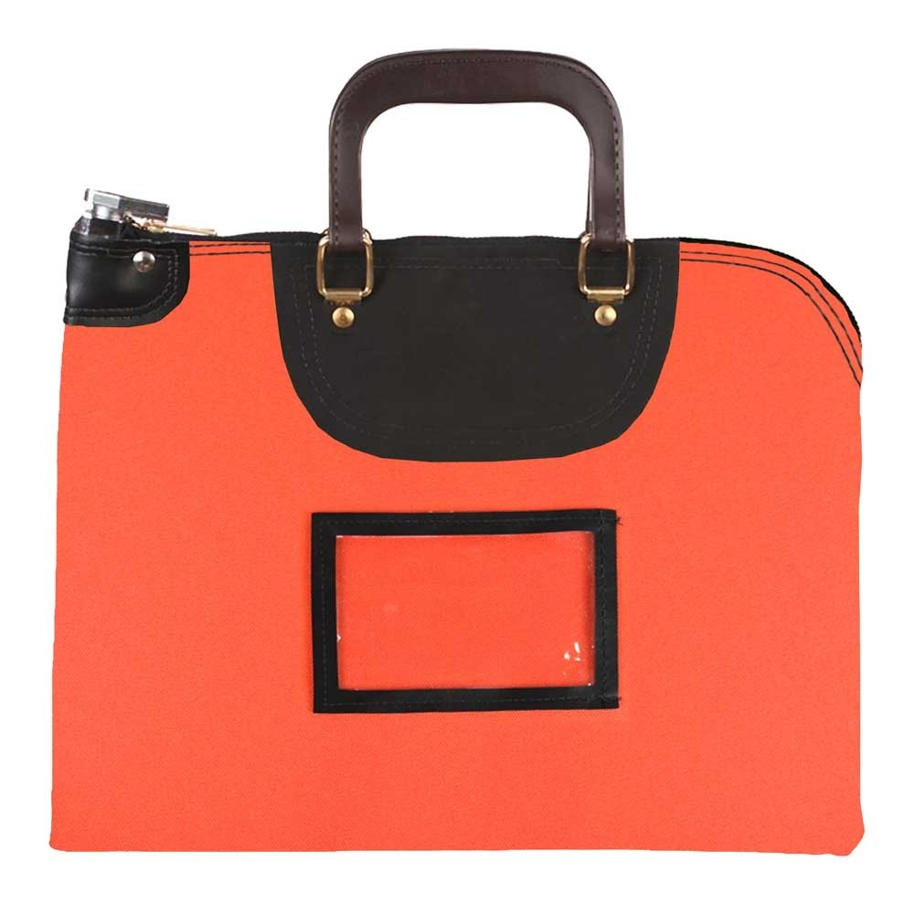 Orange 1000D Nylon 19Wx15H Handled Fire-Resistant Locking Courier Bag w/Master Key Lock, Framed Cardholder