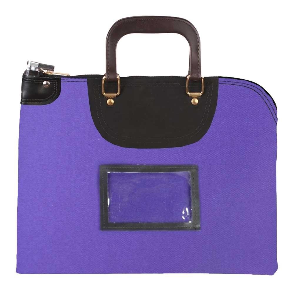 Purple 1000D Nylon 19Wx15H Handled Fire-Resistant Locking Courier Bag w/Master Key Lock, Framed Cardholder