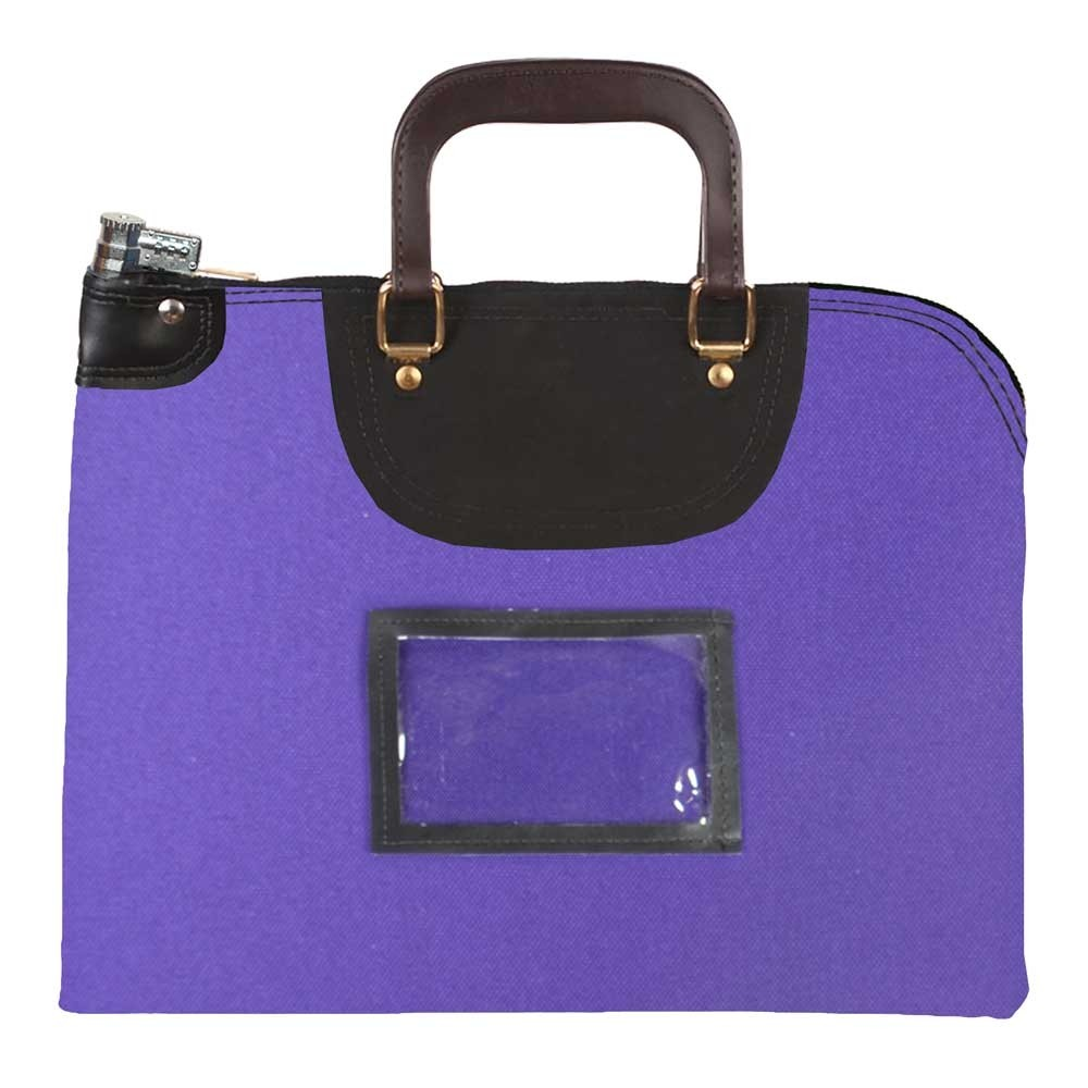 Purple 1000D Nylon 18Wx14H Handled Fire-Resistant Locking Courier Bag w/Combo Diff Lock, Framed Cardholder