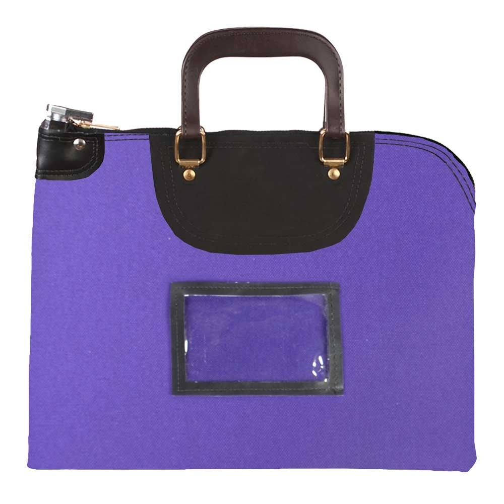 Purple 1000D Nylon 18Wx14H Handled Fire-Resistant Locking Courier Bag w/Keyed Diff Lock, Framed Cardholder