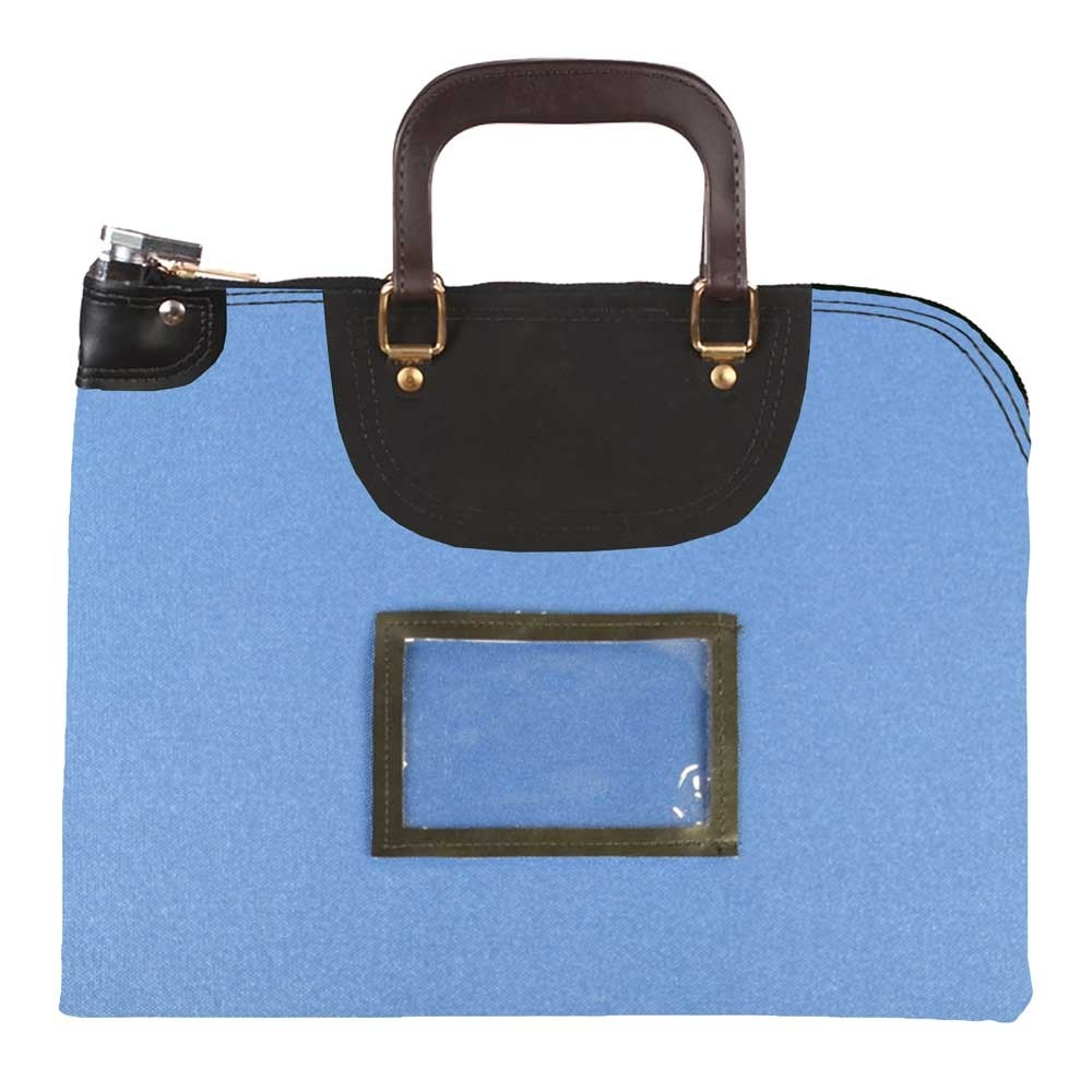 Royal Blue 1000D Nylon 19Wx15H Handled Fire-Resistant Locking Courier Bag w/Key Alike Lock, Framed Cardholder