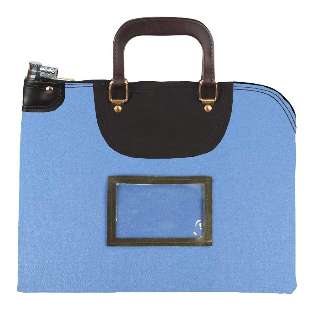 Royal Blue 1000D Nylon 19Wx15H Handled Fire-Resistant Locking Courier Bag w/Combo Diff Lock, Framed Cardholder