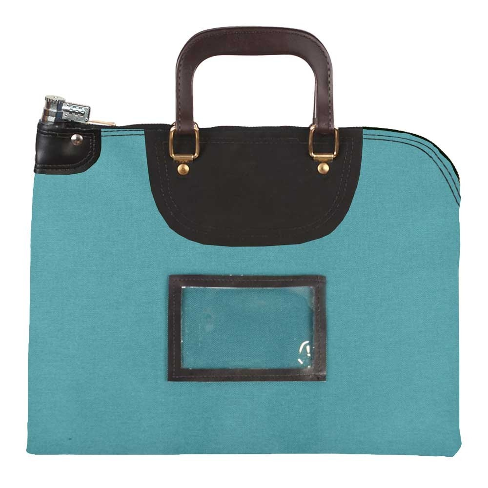 Teal 1000D Nylon 16Wx12H Handled Fire-Resistant Locking Courier Bag w/Combo Diff Lock, Framed Cardholder