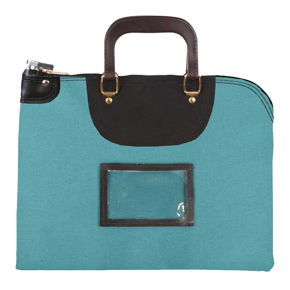 Teal 1000D Nylon 19Wx15H Handled Fire-Resistant Locking Courier Bag w/Keyed Diff Lock, Framed Cardholder