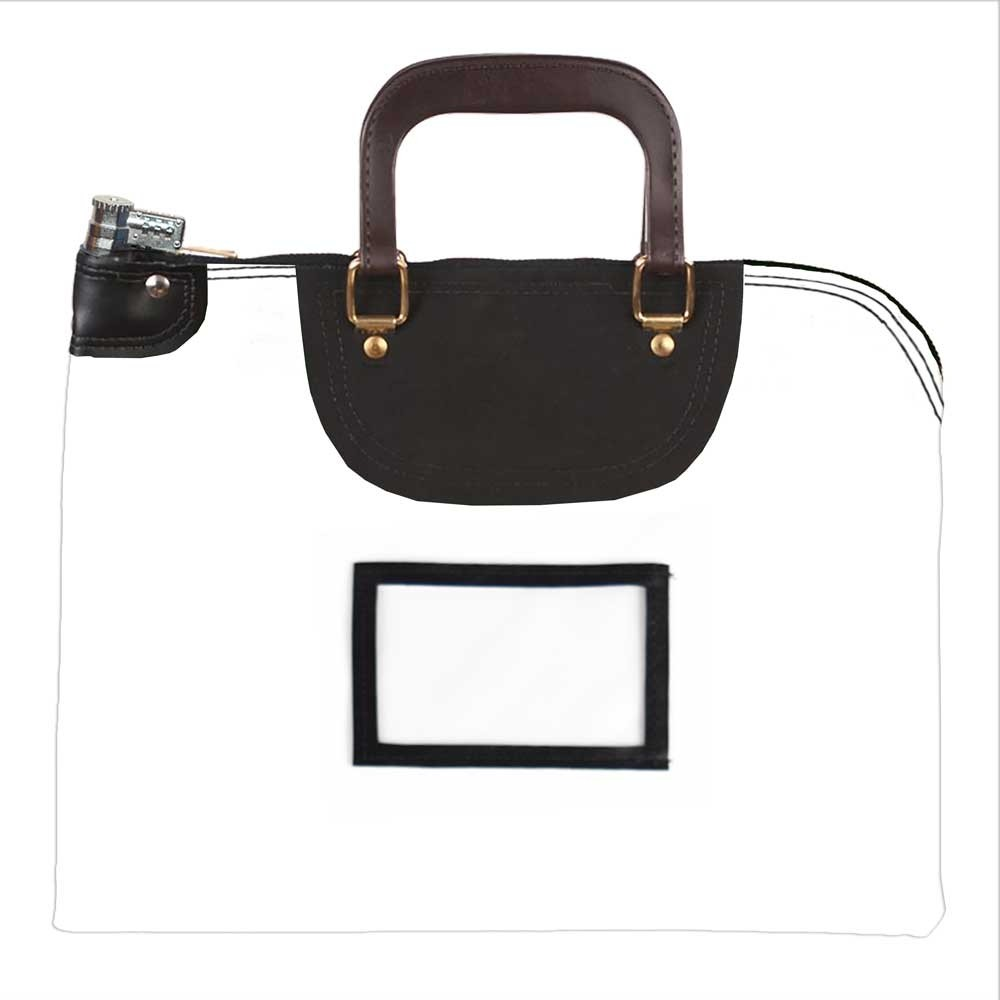 White 1000D Nylon 18Wx14H Handled Fire-Resistant Locking Courier Bag w/Combo Alike Lock, Framed Cardholder
