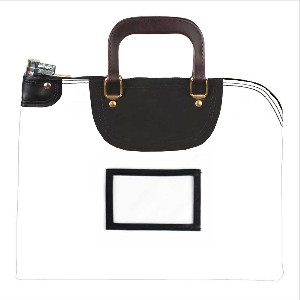 White 1000D Nylon 19Wx15H Handled Fire-Resistant Locking Courier Bag w/Combo Alike Lock, Framed Cardholder
