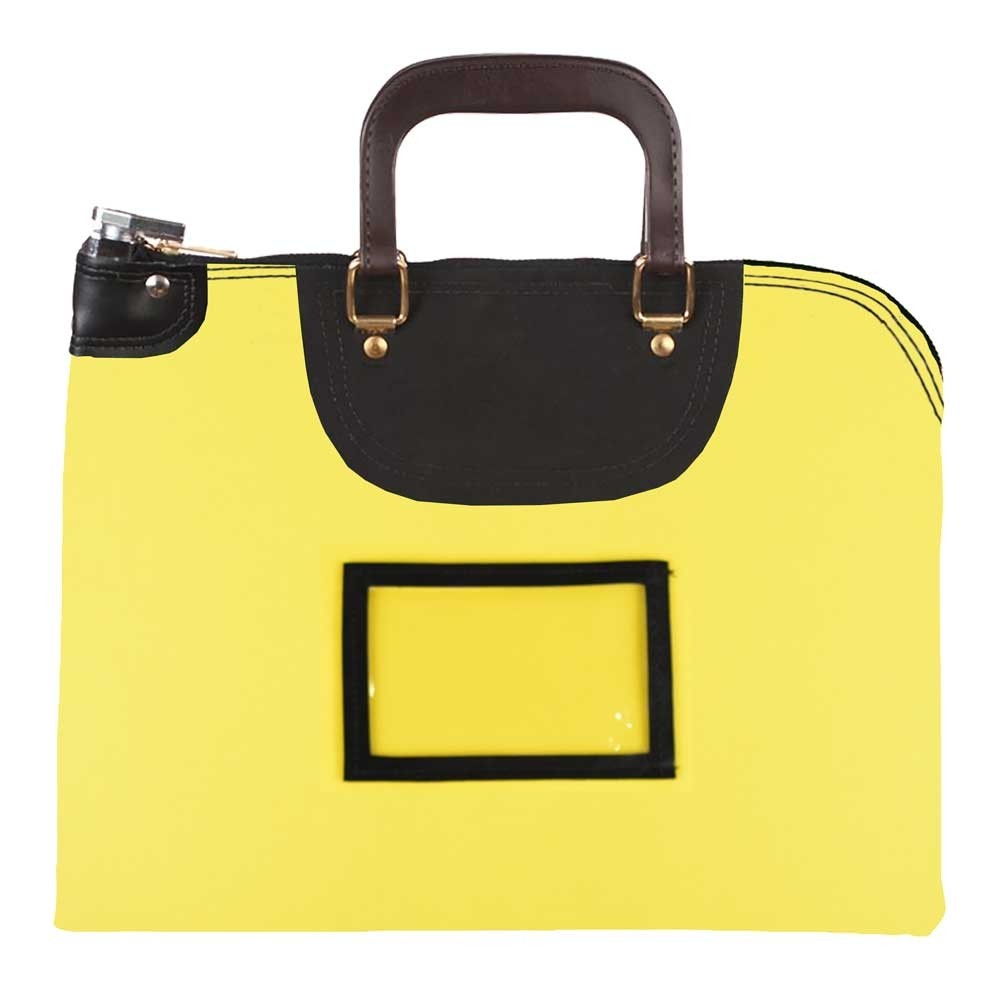 Yellow 1000D Nylon 15Wx11H Handled Fire-Resistant Locking Courier Bag w/Keyed Diff Lock, Framed Cardholder