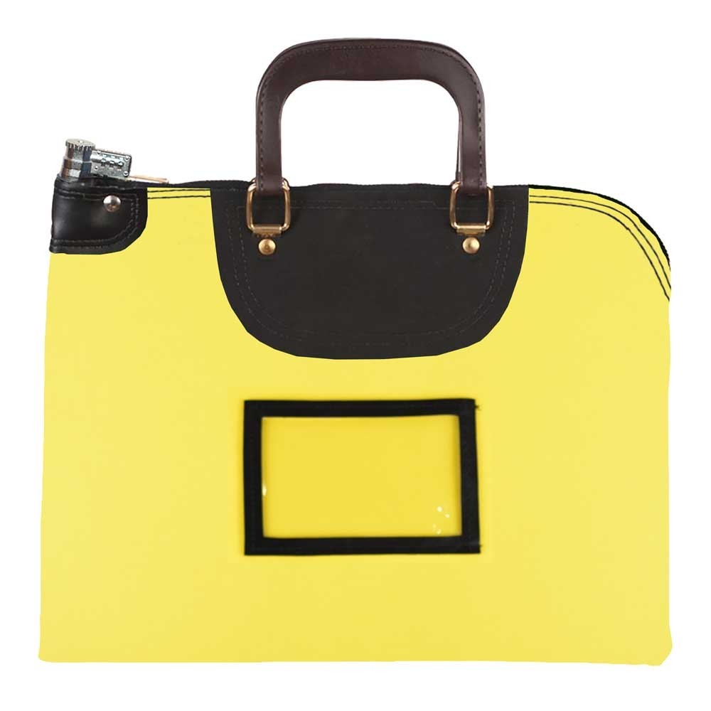 Yellow 1000D Nylon 16Wx12H Handled Fire-Resistant Locking Courier Bag w/Combo Alike Lock, Framed Cardholder