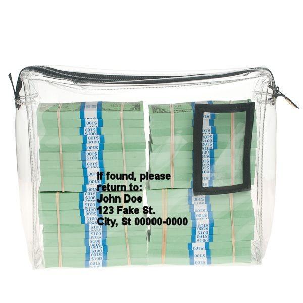 Gussetted 14Wx11Hx3D Clear Vinyl Zipper Bag - Imprinted