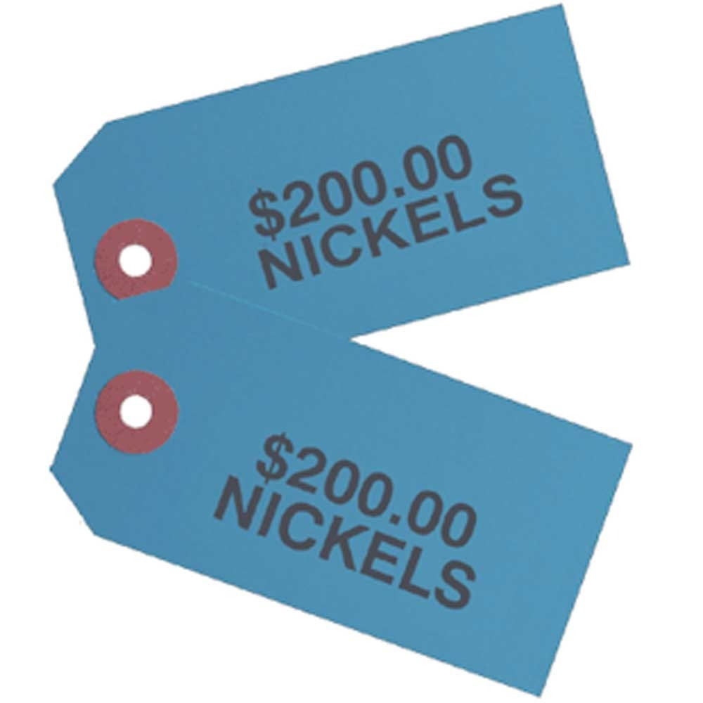 Printed Coin Bag Tags - 1-7/8 x 3-3/4 - $200 Nickels - Blue #626-20200