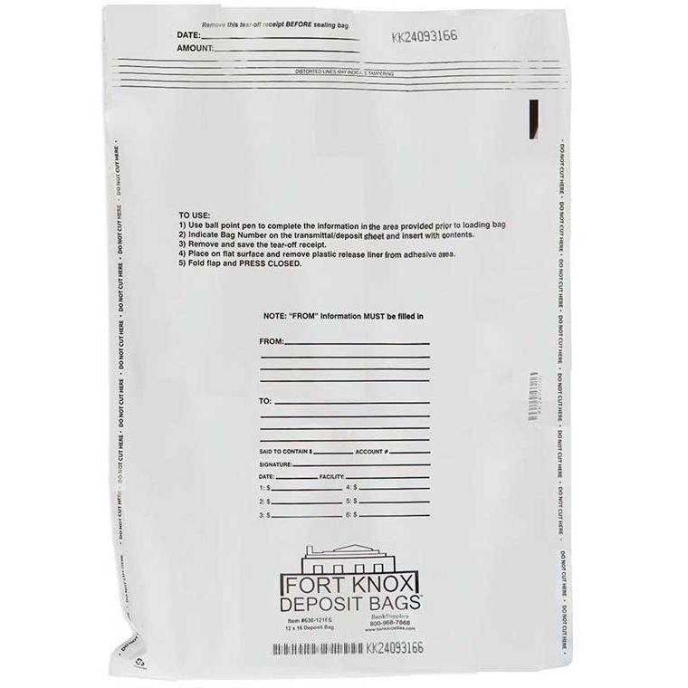 White Deposit Bags - 12W x 16H - 100/Box