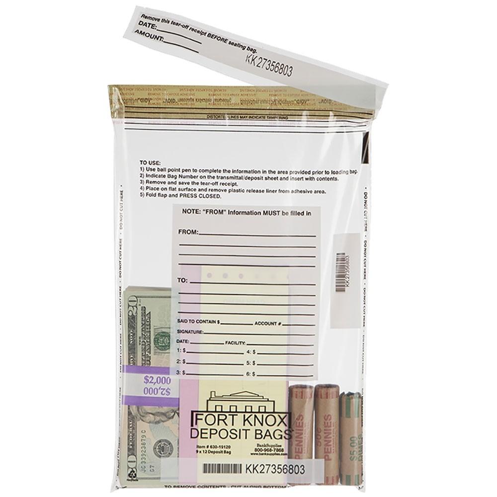 9W x 12H Clear Deposit Bags - Box of 100