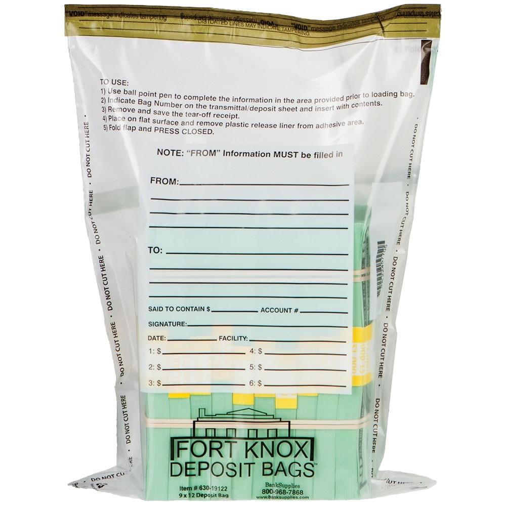 9W x 12H Clear Deposit Bags w/External Pocket - 100/Bx