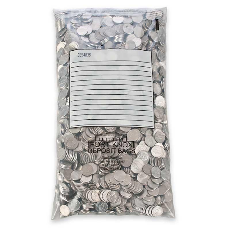 Self Sealing Coin Bags - White Block - 9W x 17H - 100/box