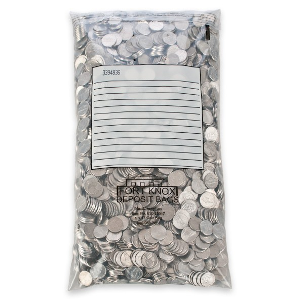 Self Sealing Coin Bags - White Block - 9W x 17H - Case of 500