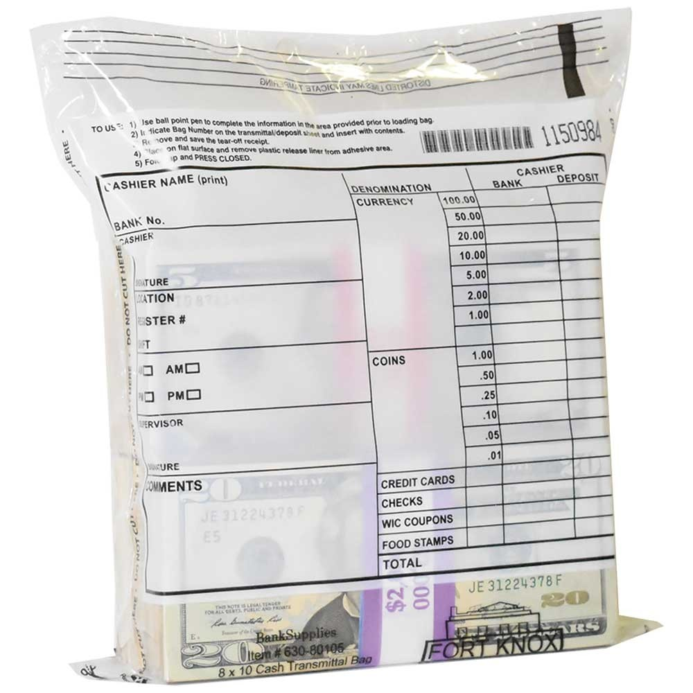 8W x 10H Cash Transmittal Bags - 500/CS