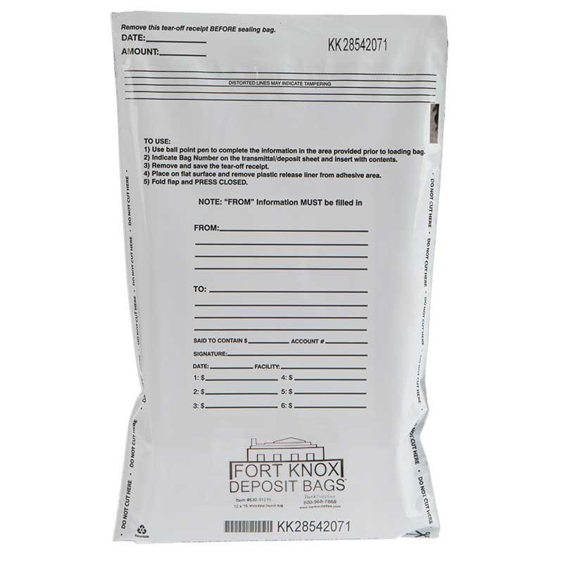 12W x 16H White Value Deposit Bags