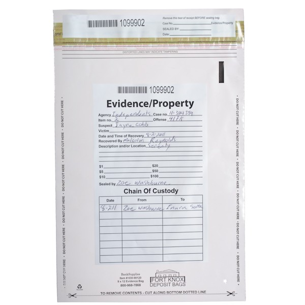 Clear Evidence Bags - 9W x 12H - 100/BX
