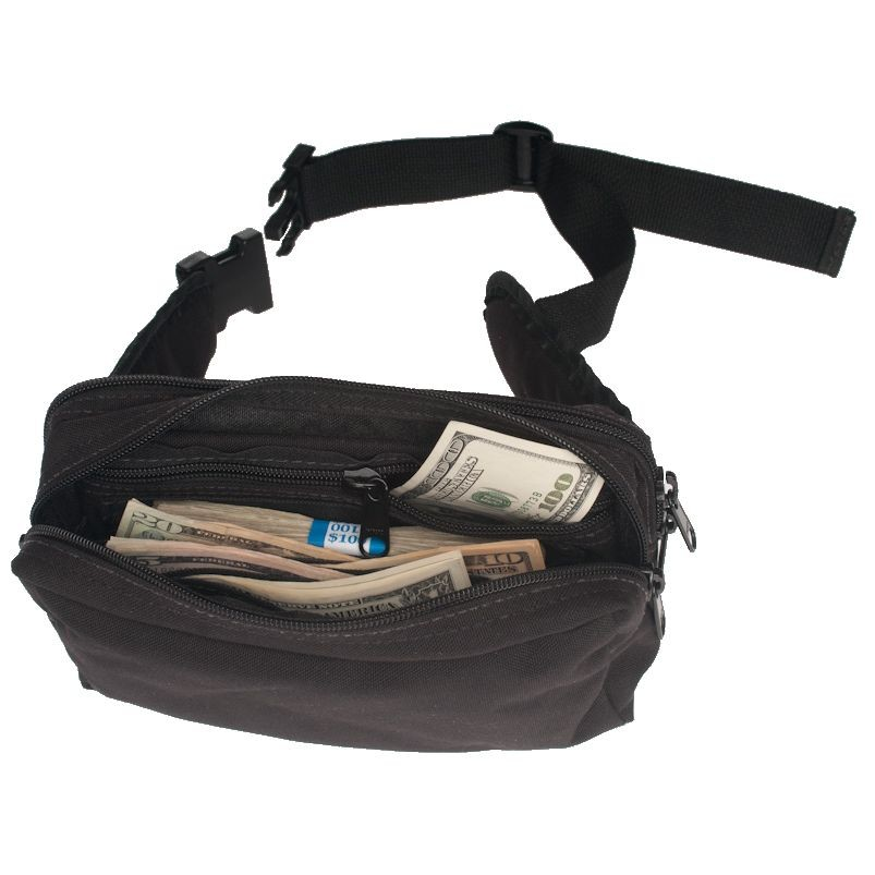 9W x 5H x 4D Large Belt Bag w/2 Zippered Pockets - Stock