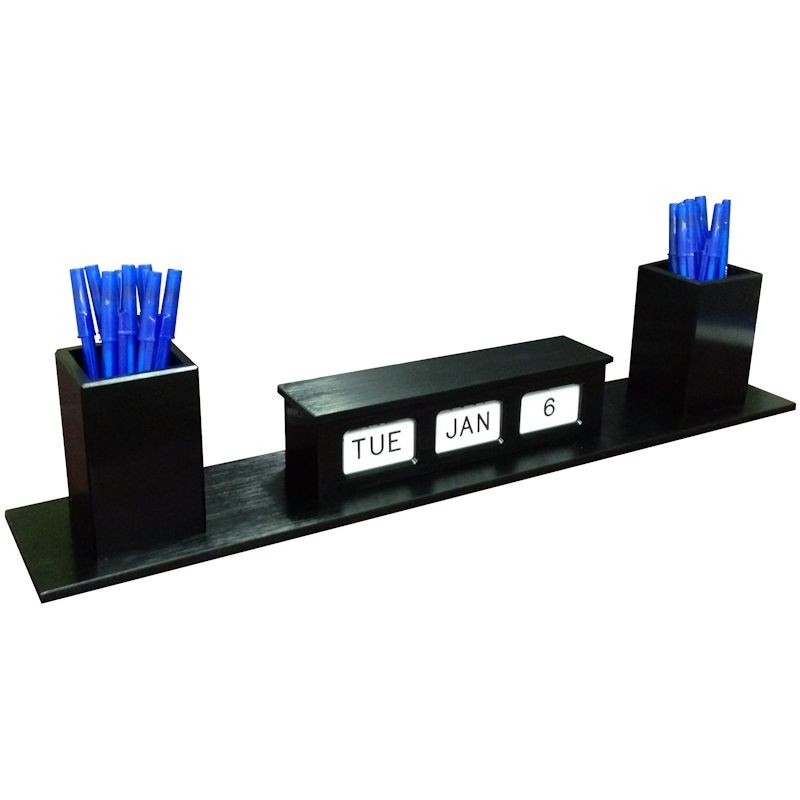 Smooth Black Single Face Calendar with 2 pen cups